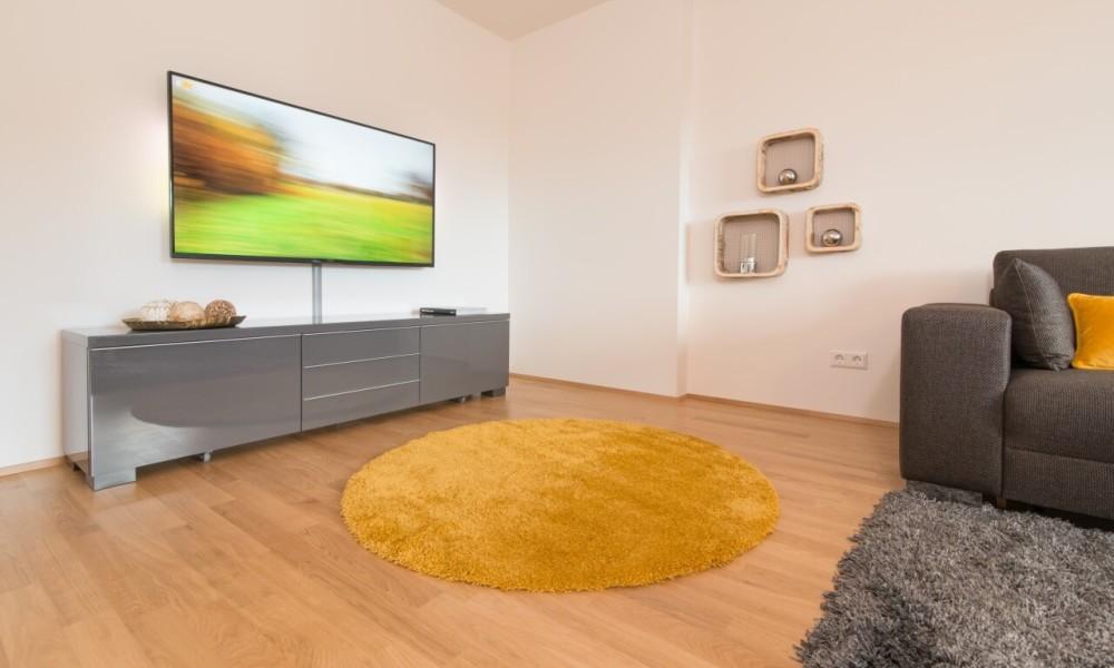 Ferienwohnung Staufner Domizil Oberstaufen - Wohnzimmer mit Ambilight Fernseher (2)